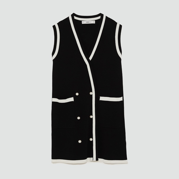 7e2f1c11 ZARA SS18 DOUBLE-BREASTED DRESS WITH PEARL BEADS